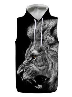 3D Lion Roar Black Sleeveless Pullover Hooded Men Fashion T-shirt