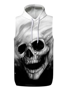 3D Skull Face Sleeveless Pullover Hooded Men Fashion T-shirt