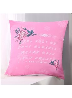 Letters and Floral Pattern Polyester One Piece Throw Pillowcase