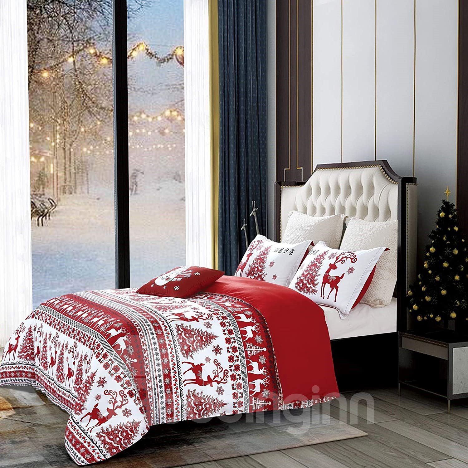 Christmas Trees and Reindeer Pattern Red Polyester 4-Piece Bedding Sets/Duvet Cover