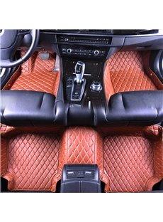 Top-notch Leather Grid Line Design Onefold Color Durable Custom Fit Car Floor Mats