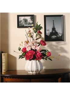 Romantic Red Roses and Pink Cherry Blossoms Elegant Home Decorative Flower Set