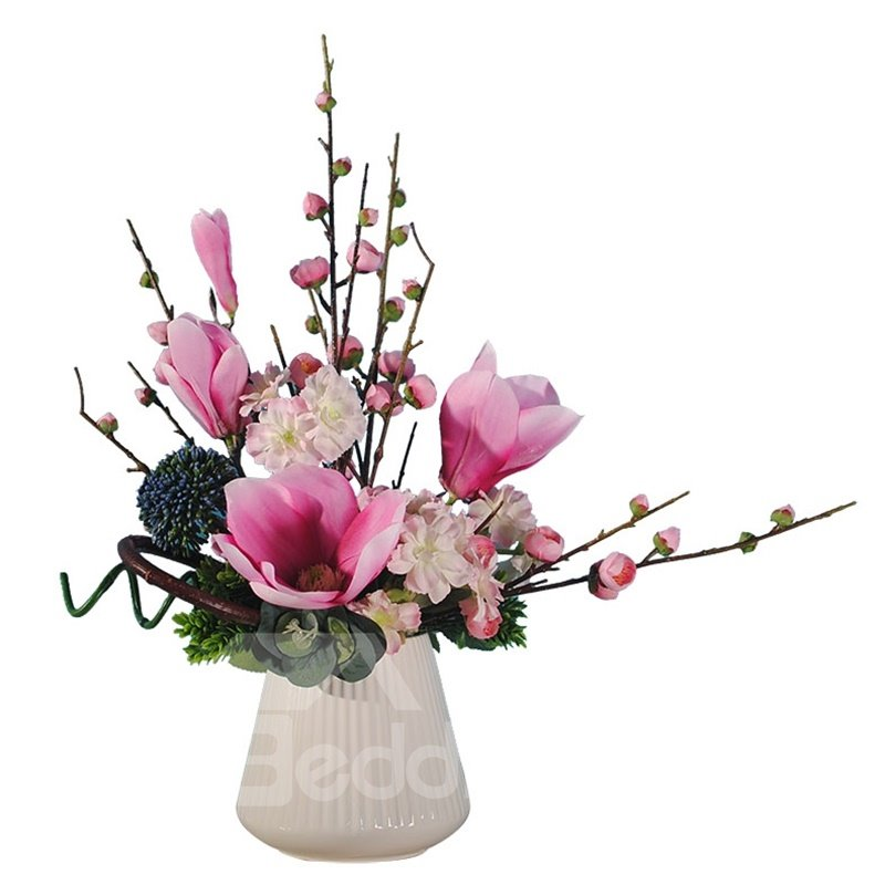 Fresh and Elegant Red and White Orchids Artificial Flowers Flower and Vase