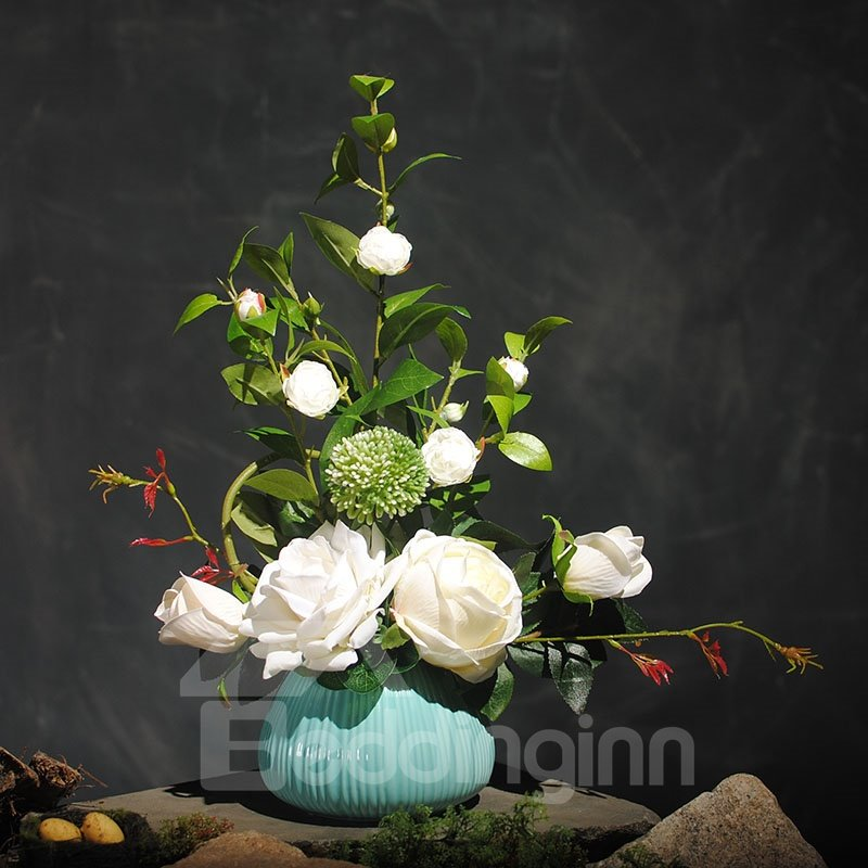 Fresh and Elegant Red and White Roses Artificial Flowers Flowers Set