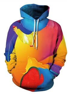 Multicolor Long Sleeve Abtract Pattern Pocket 3D Painted Hoodie