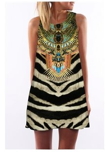 Tiger Grain Printed Ethnic Style 3D Painted Sleeveless Dress