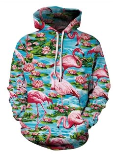 Long Sleeve Flamingo and Lotus Pattern 3D Painted Hoodie