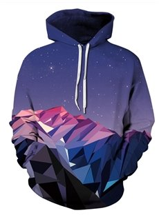 Long Sleeve Mountain Range Galaxy Pattern Pocket 3D Painted Hoodie