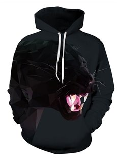 Long Sleeve Printed Fierce Leopard 3D Painted Hoodie