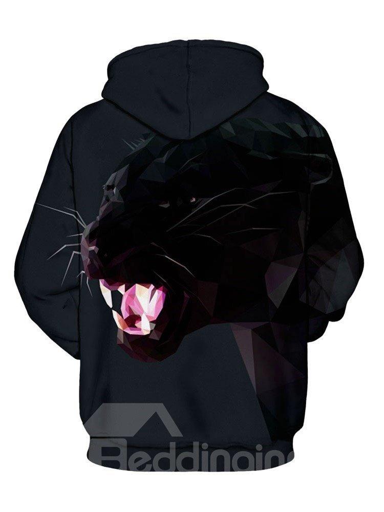 Long Sleeve Fierce Leopard Pattern 3D Painted Hoodie
