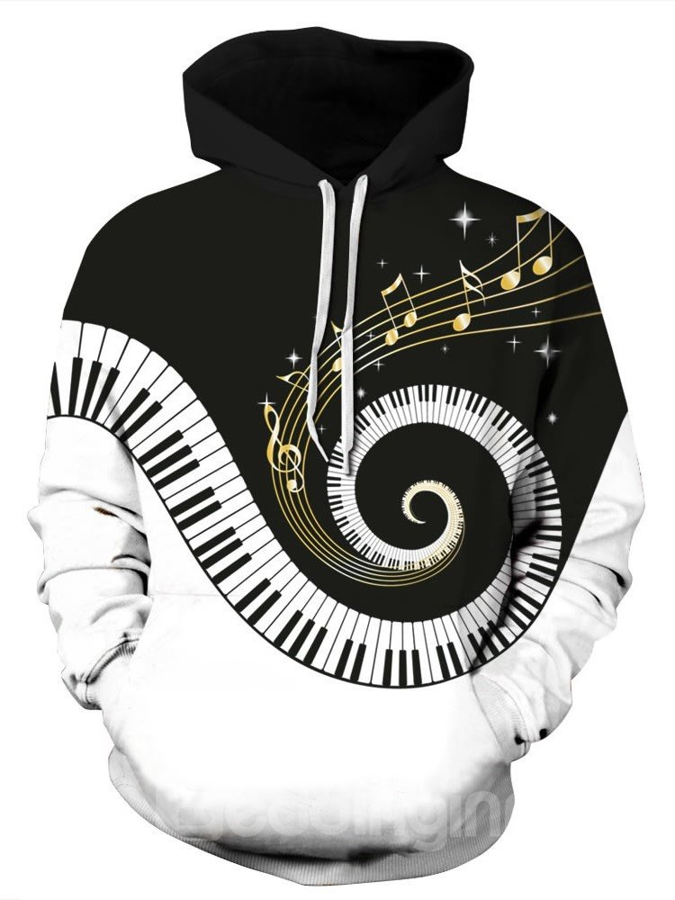 Long Sleeve Piano Keyboard Playing Fantacy Music Pattern 3D Painted Hoodie