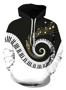 Piano Keyboard Playing Fantacy Music Long Sleeve 3D Pattern Hoodie