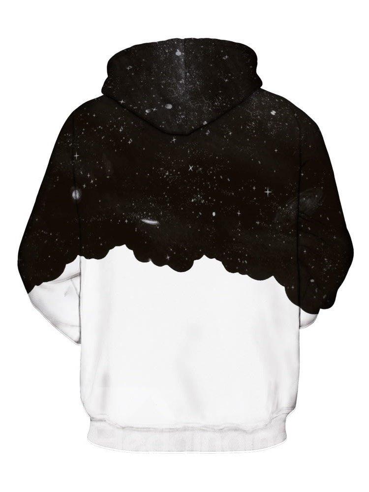 Long Sleeve Black and White Printed Gentleman Pattern 3D Painted Hoodie