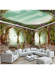 Green Garden Wreath with Dove Pattern 3D Waterproof Ceiling and Wall Murals
