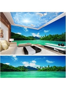 Blue Sky and Green Tree with Lake Pattern 3D Waterproof Ceiling and Wall Murals