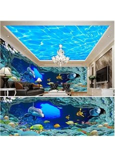 Blue Ocean with Dolphin Pattern 3D Waterproof Ceiling and Wall Murals