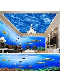 Blue Ocean and Sharp Pattern 3D Waterproof Ceiling and Wall Murals