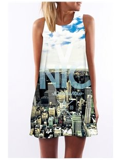 3D City View Print Crew Neck Sleeveless Women Summer Dress