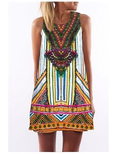 3D Boho Style Print Crew Neck Sleeveless Women Summer Dress
