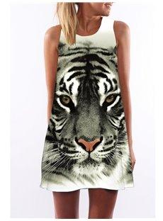 3D Tiger Face Print Crew Neck Sleeveless Women Summer Dress