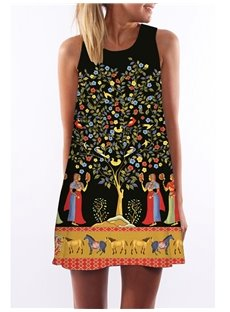 3D Women Horse Painting Print Crew Neck Sleeveless Women Summer Dress
