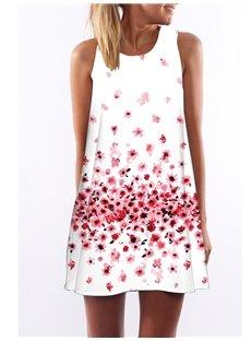 3D Pink Floral Print Crew Neck Sleeveless Women Summer Dress