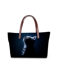 3D Black Cat Looking up Waterproof Sturdy Printed for Women Girls Shoulder HandBag