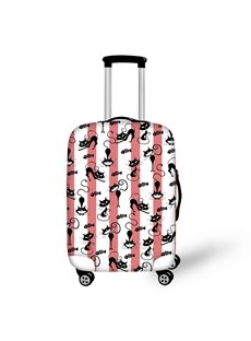3D Red and white stripes Printed black Cats and Fish Bones Luggage Protect Cover