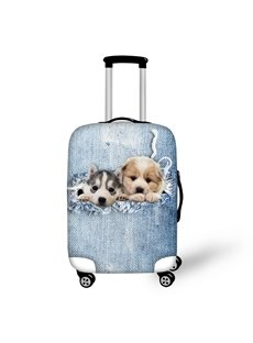 3D Two Baby Dogs Hidding in the Pocket Painted Luggage Protect Cover