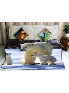 Solar Bear and Her Cute Babies Pattern Soft Flannel Bed Blankets