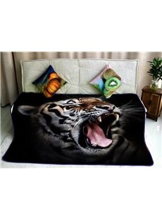Roaring Tiger with Sharp Teeth Pattern Soft Flannel Bed BLankets