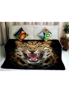 Wild Leopard with Sharp Teeth Printed Soft Flannel Fleece Bed Blankets