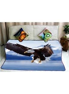 Bald Eagle Flying over Ocean Pattern Soft Flannel Blankets