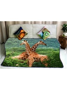 Two Africa Giraffes Pattern Super Soft Flannel Bed Blankets