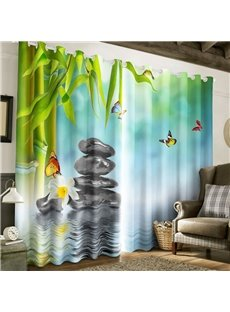 3D Green Bamboos and Stones with Butterflies Printed 2 Panels Living Room Curtain