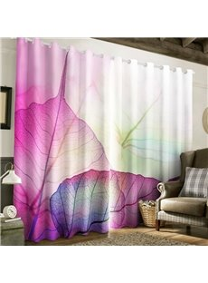 3D Light Purple Leaves Printed Pastoral Style Living Room and Bedroom Curtain