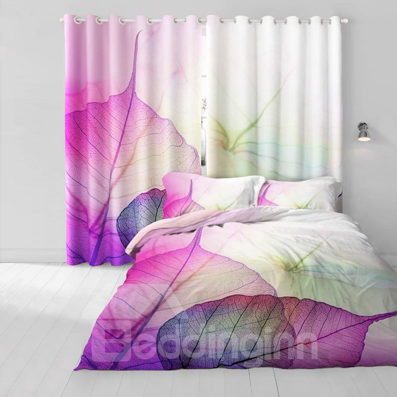 3D Light Purple Leaves Printed Pastoral Style Natural Living Room ...