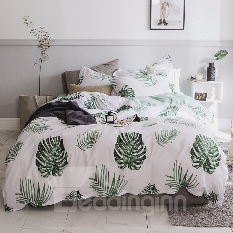 Tropical Green Leaves Printed 4-Piece Cotton Bedding Sets/Duvet Cover