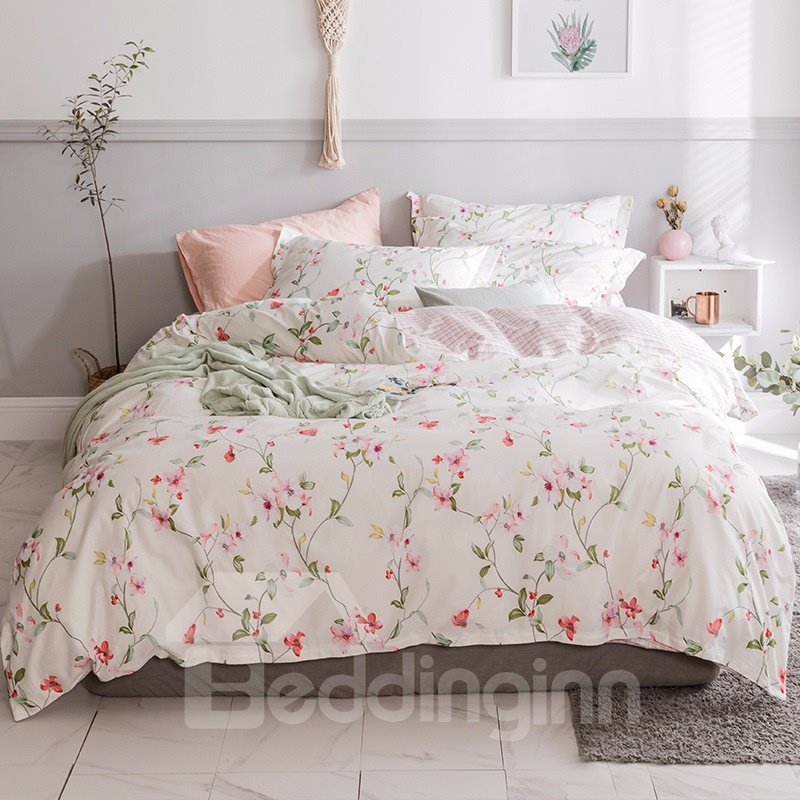 Spring Pink Flowers Pastoral Style Printed 4-Piece Cotton Bedding Sets/Duvet Cover