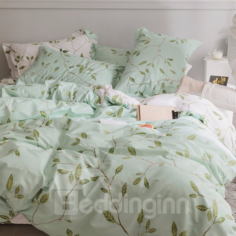 Fresh Leaves with Light Green Printed 4-Piece Cotton Bedding Sets/Duvet Cover