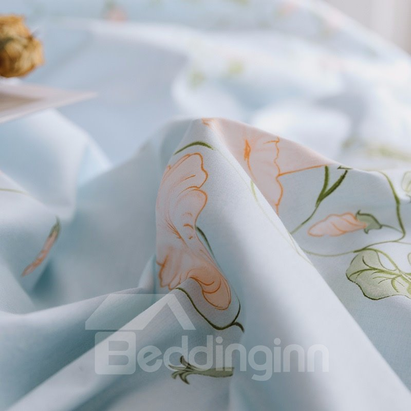 Beautiful Blooming Petunia Printed 4-Piece Cotton Bedding Sets/Duvet Cover