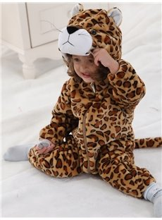 3D Cute Little Leopard Shaped Golden Polyester Baby Jumpsuit