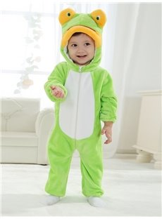 3D Little Live Frog Shaped Light Green Polyester Baby Jumpsuit