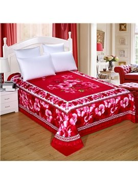 King Size Rose Red Flowers Pattern Cotton Printed Sheet