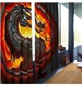 3D Ferocious Dragon Printed Thick Polyester Living Room Blackout Curtain