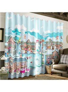 Creative Cartoon Houses and People Printed 2 Panels Living Room Window Drape