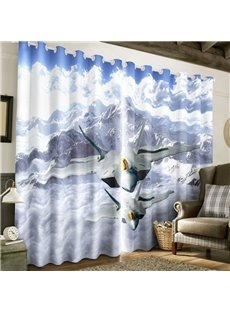 3D White Snow Mountain and Flying Planes Printed 2 Panels Custom Living Room Curtain
