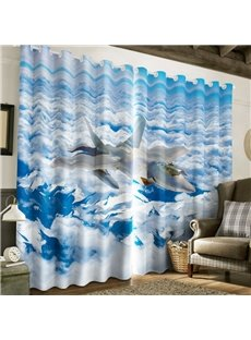 3D Airplane and White Clouds Printed 2 Panels Living Room Blackout Curtain