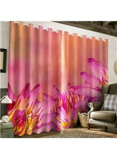 Romantic Pink Flowers and Stamens Printed 2 Panels Custom Living Room 3D Curtain