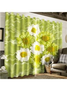 White Chrysanthemums Printed Country Style 2 Panels Bedroom Decorative Window Drape